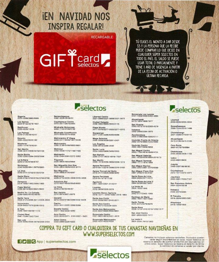 NAVIDAD gift card superselectos san salvador
