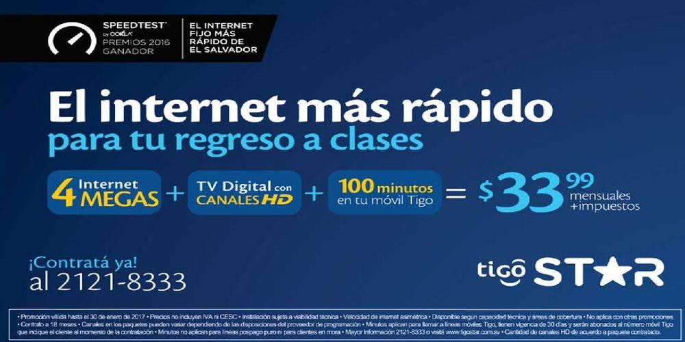 TIGO STAR promocion 4 megas de internet para regresar a clases