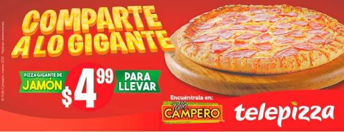PIZZA de jamon gigante en oferta via pollo campero