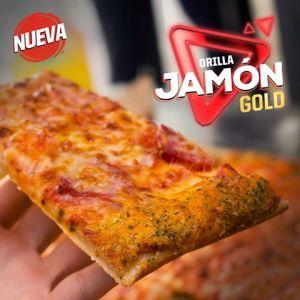 NUeva pizza hut con orilla rellena de jamon