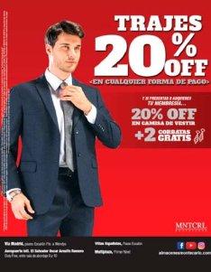 Cualquier forma de pago 20 off en trajes para caballeros