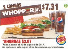 CUPON Burger King el salvador - 2 combos whopper jr - agosto 2017