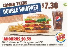 CUPON Burger King el salvador - combo texas double whopper - agosto 2017