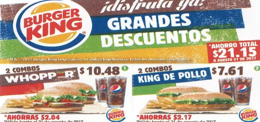 CUPONES Burger King el salvador - agosto 2017