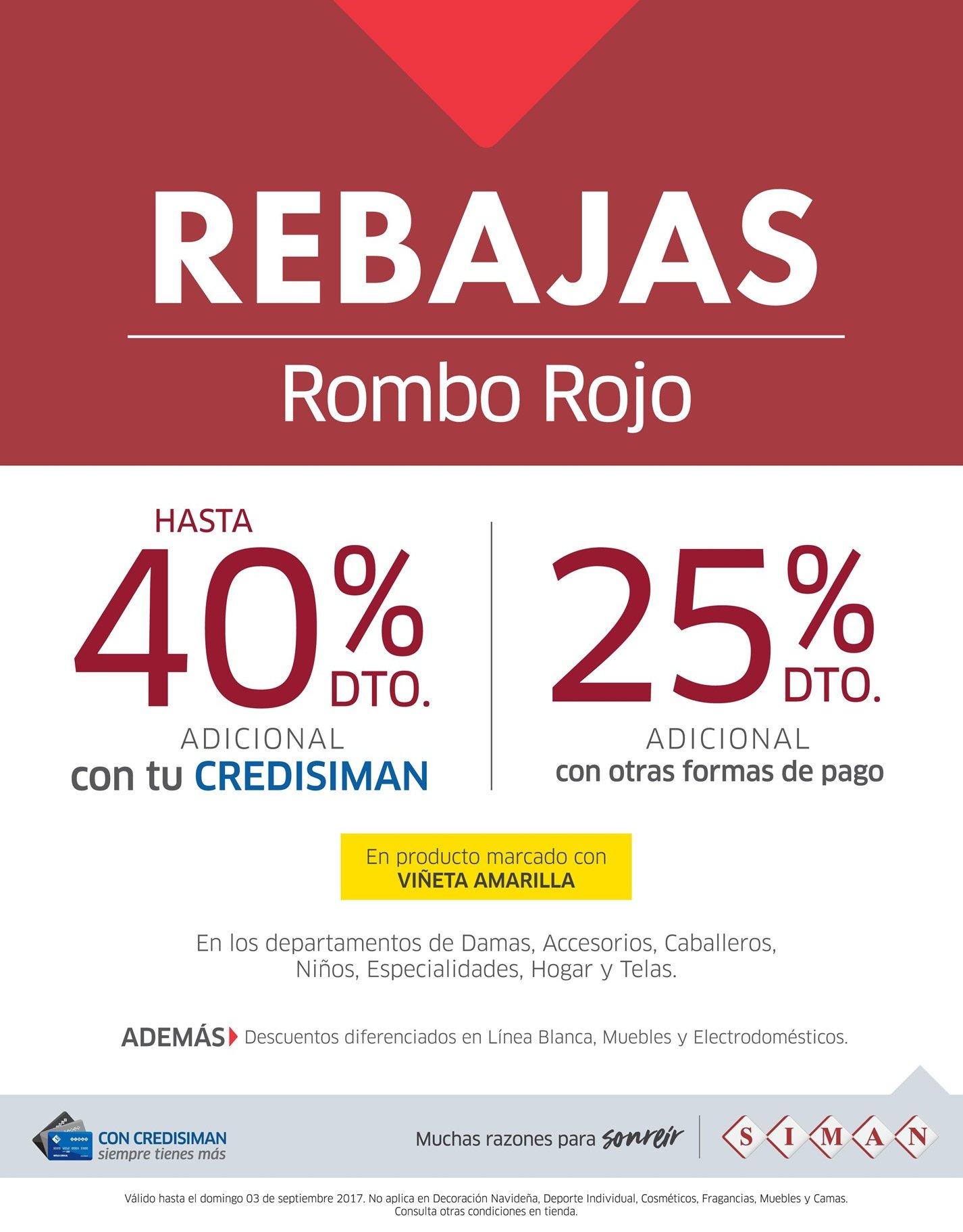 b90de1f4f0 SIMAN finde de REBAJAS promocion roMBO roJO - Ofertas Ahora