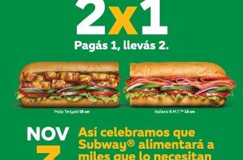 2x1 SUBWAY live feed promocion DIA MUNDIAL DEL SANDWICH