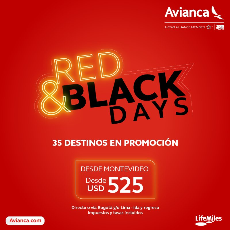 AVIANCA Red & Black days 2017 [Vuelos Rebajados]