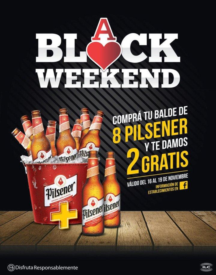 Black Weekend Pilsener balde de 8 cervezas mas dos GRATIS