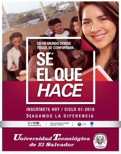 Incripcion 2018 en la Universidad Tecnologica de El Salvador UTEC