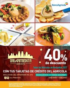 Miercoles de noviembre 40 off en restaurante sal y pimienta