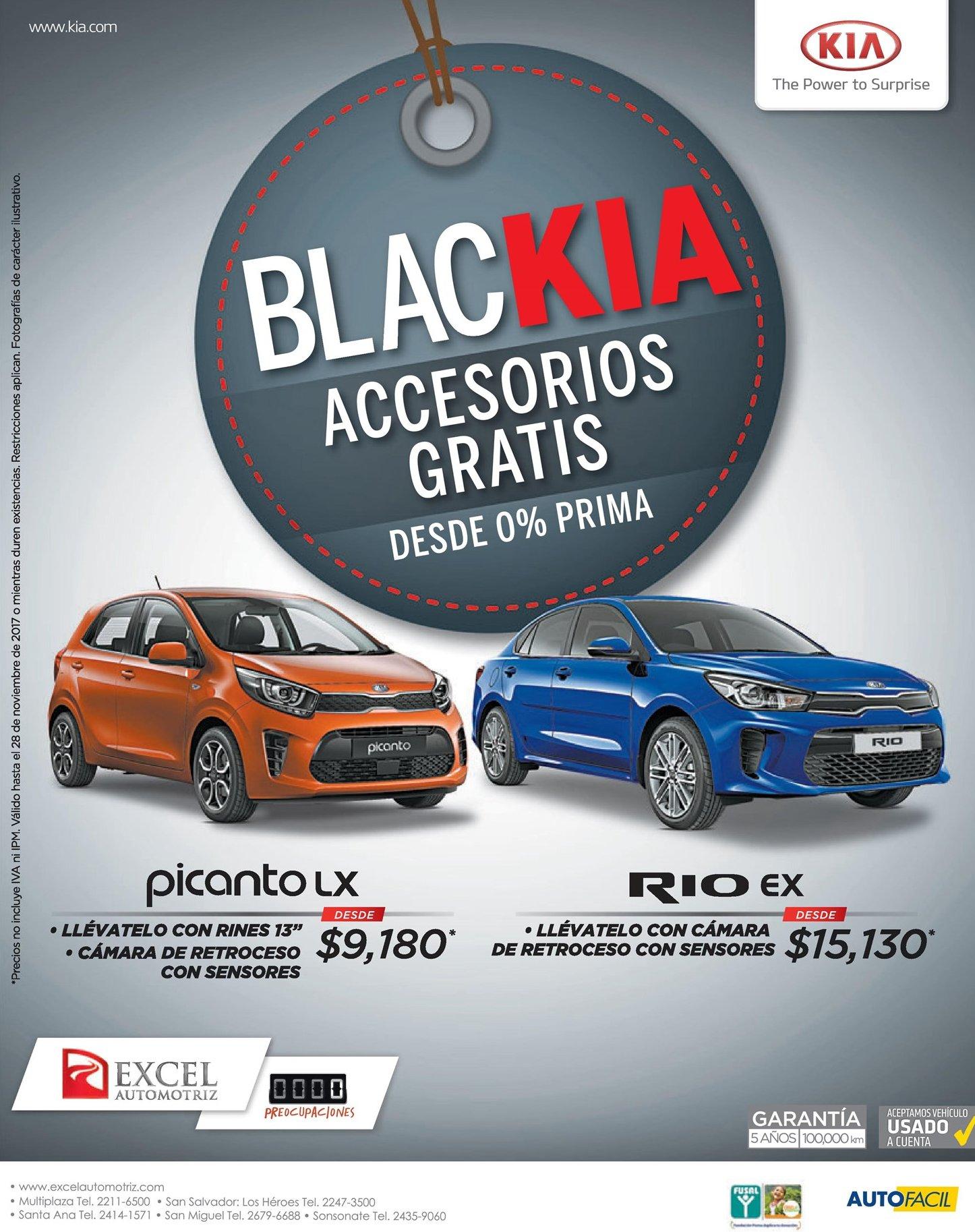 Promocion BLACK FRIDAY KIA autos modelo picanto LX y RIO EX