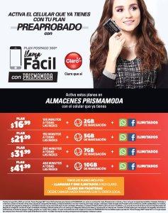 Activa tu plan CLARO de celular e internet con prismamoda