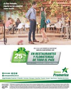 Banco Promerica 25 off en todas las floristerias del pais