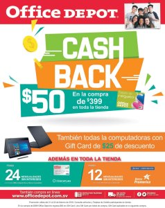 Office Depot promocion cash back Febrero 2018