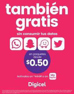 Promocion DIgicel GRATIS navegacion en tus app Verano 2018