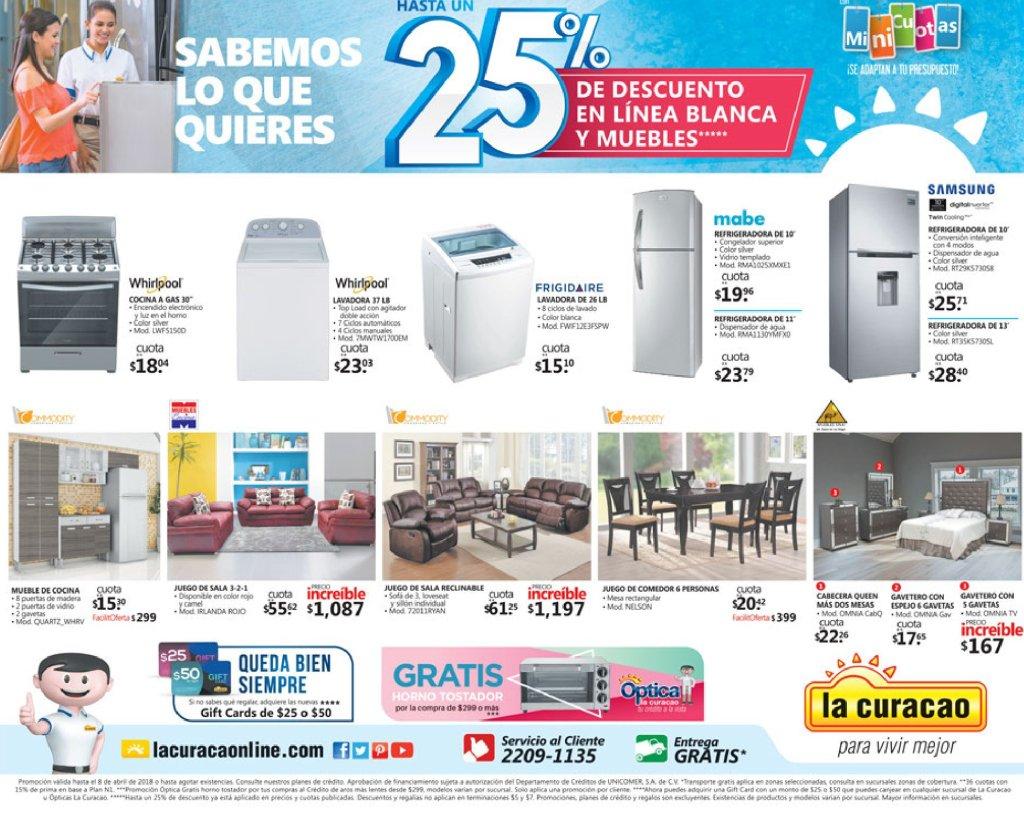 OJO la curacao tiene 25 off en linea blanca abril 2018