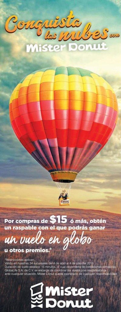 Promocion conquista las nubes MISTER DONUT viaje en GLOBO