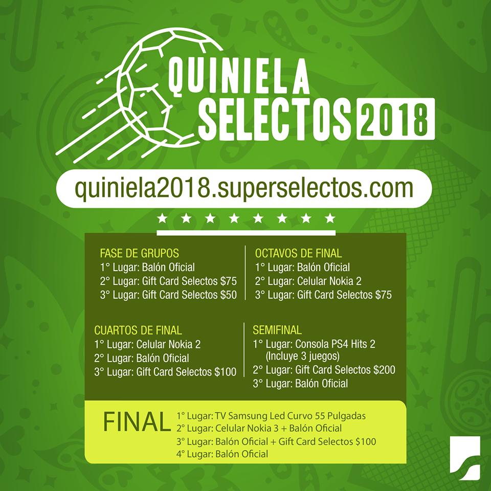 Juega la QUINIELA Super Selectos, RUSIA 2018