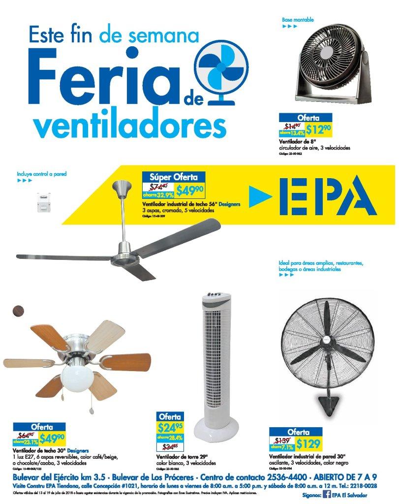 Ferrteria EPA te invita a su feria de ventiladores 13jul18