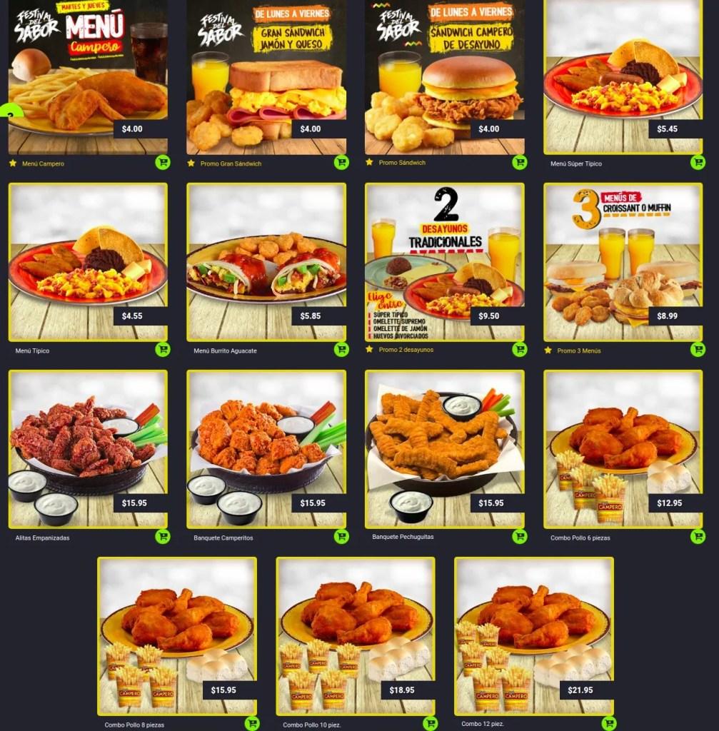 Descarga aqui el menu de pollo campero 2018