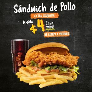 menu pollo campero sandwich de pollo extra crujiente
