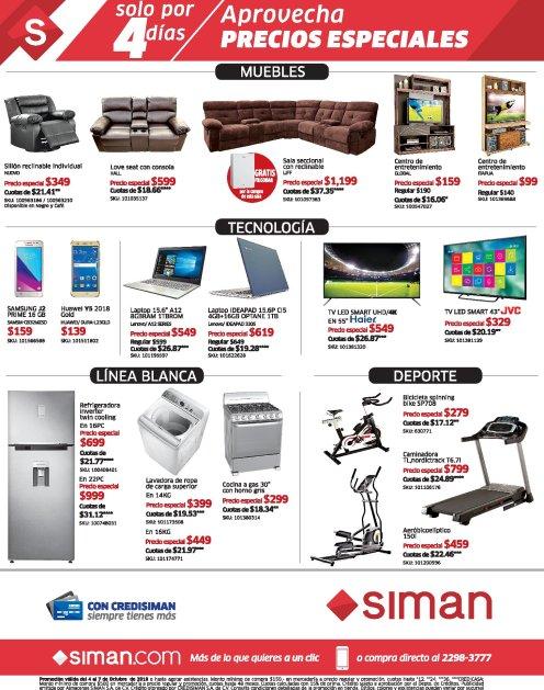 ofertas en tecnologia muebles y ropa SIMAN - 04oct18