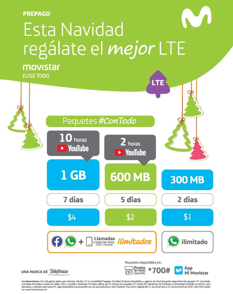 Paquetes de internet para navidad 2018 MOVISTAR LTE el salvador