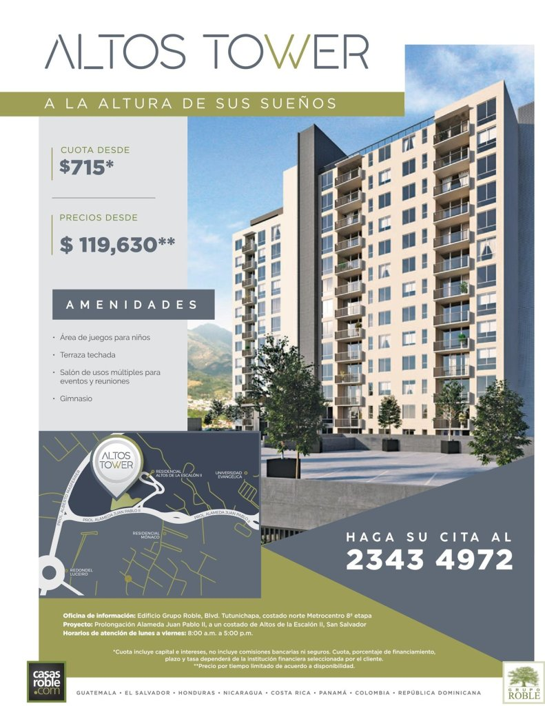ALTOS TOWER aparment on San Salvador luxory details and live style