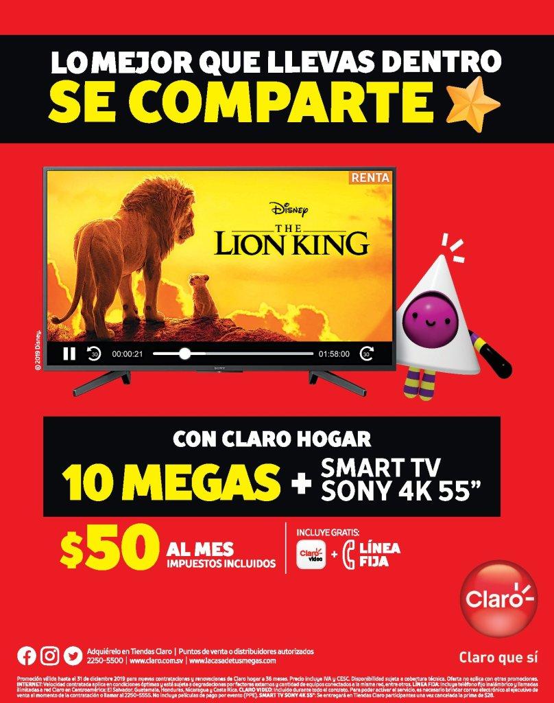 CLARO hogar 10 MB de internet smart tv 55 pulgadas 4K