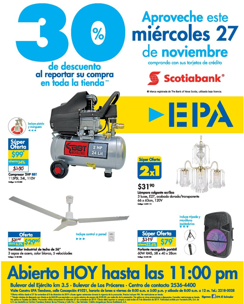Miercoles-27nov19-ferreteria-EPA-el-salvador-30-OFF-gracias-a-Scotiabank