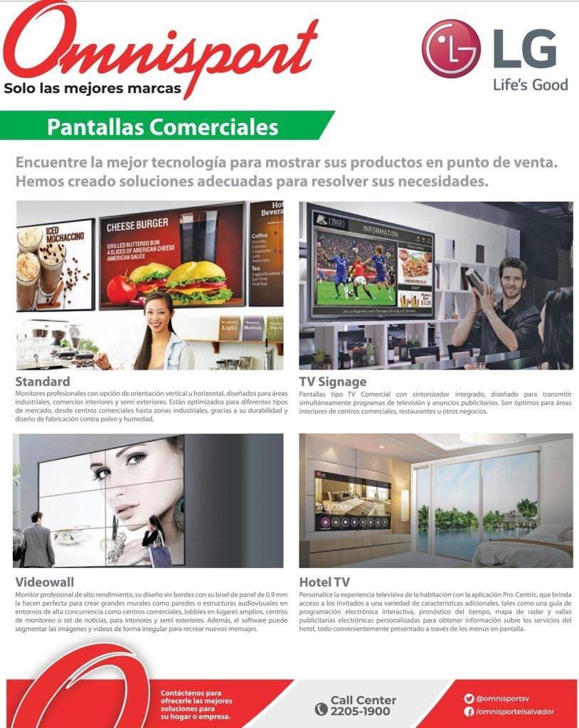 Pantallas Comerciales point of sale HOTEL and video walls