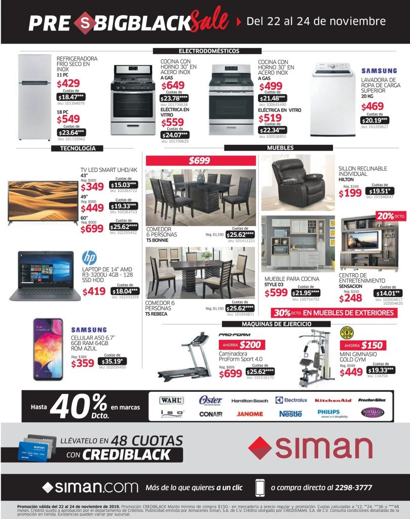 Pre black friday 2019 SIMAN el salvador - 23nov19