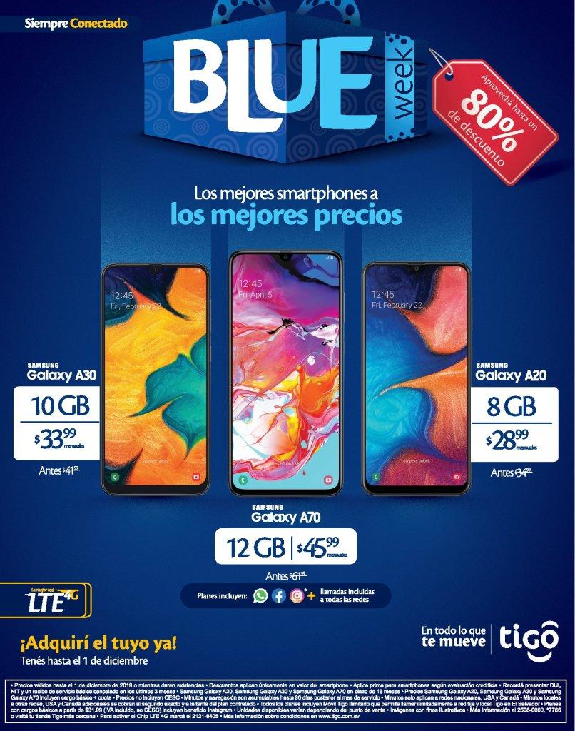 mas precios rebajaos en celulares tigo blue week - 27nov19