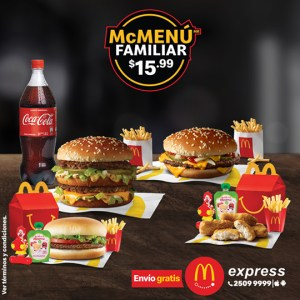 McMenú Familiar 🍔 $15.99 #QuédateEnCasa