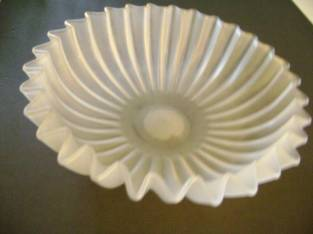 Fluted Bowl & Candle Sticks – Frosted Glass – 4 pcs (Ballston Spa/Malta) $5