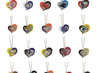 Brand New NFL Jewelry Pick Your Team Swirl Heart Necklace Official Licensed