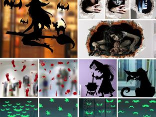 Halloween Horror Ghost Witch Wall Sticker Removable Scary Wall Decals Home Decor