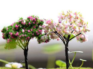 Miniature Sakura Tree Plants Fairy Garden Accessories Dollhouse Ornament Decors