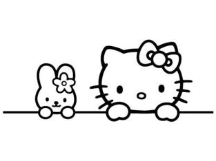 HELLO KITTY BUNNY FRIEND GIRL KIDS CAR WINDOW VINYL DECAL STICKER (HK-05)