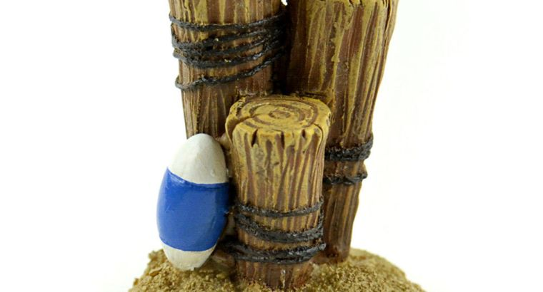 Miniature Dollhouse FAIRY GARDEN – Nautical Posts With Buoy – Accessories