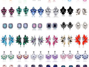 Elegant Women Crystal Rhinestone Flower Ear Stud Earrings Charms Fashion Jewelry