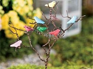 Miniature Dollhouse FAIRY GARDEN – Songbird Tree – Accessories