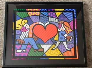 Framed Wall Art Print Romero Britto/With Certificate of Authenticity