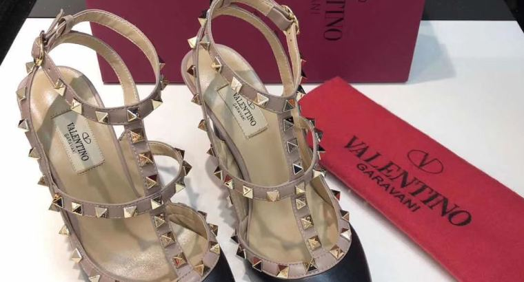 Valentino rockstud calfskin ankle strap pumps women high heels shoes