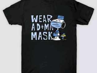 Peanuts Snoopy Woodstock Wear A D*mn Mask Funny Cartoon Black T-Shirt S-6XL