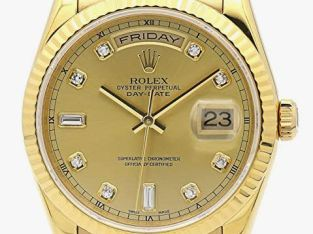 ROLEX DAY-DATE PRESIDENT 36MM YELLOW GOLD WATCH WITH DIAMOND DIAL FLUTED