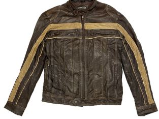 Lambretta Retro Indie brown Leather Biker Jacket