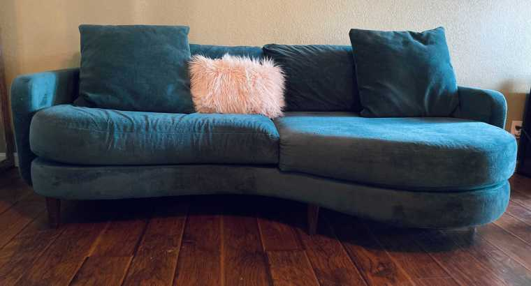 Vintage style couch Russian imported premier peacock distressed velvet