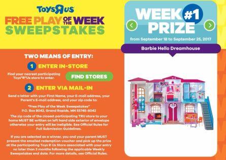 ToysRUS Nickelodeon Free Play of the Week Sweepstakes 2017