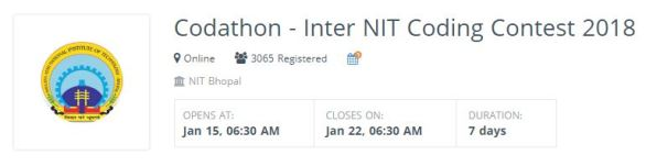 Hackerearth Codathon Inter NIT Coding Contest